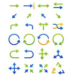Blue green arrows icons set vector