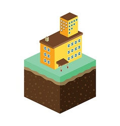 Isometric residential view cartoon theme vector