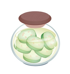 A jar of delicious pikled wax gourd vector