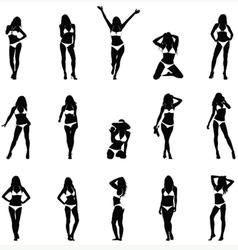 Bikini Girls Black Silhouettes vector image vector image