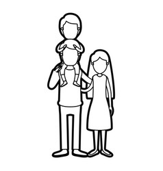 Caricature thick contour faceless family mother vector