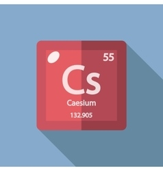 Chemical element caesium flat vector