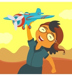 Child playing airplane vector image