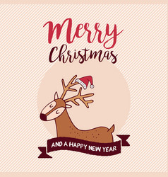 christmas and new year holiday santa claus deer vector image vector image