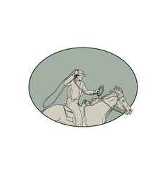 Cowboy riding horse lasso oval drawing vector