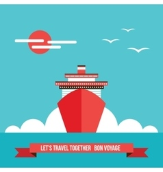Cruise liner ship Colorful background Travel vector image vector image