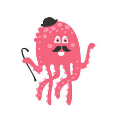 cute cartoon pink octopus gentleman character with vector image vector image