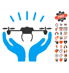 drone launch hands icon with dating bonus vector image vector image