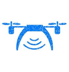 Drone wifi repeater grunge icon vector