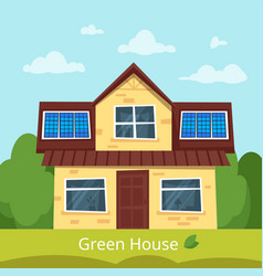 Eco house with solar panels vector
