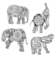 Elephants ornate decorated vector