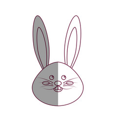 Figure nice face of happy rabbit animal vector