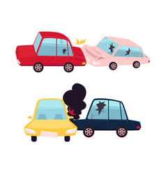 Flat cartoon car accident isolated vector