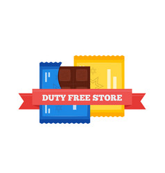 Flat icon of duty free chocolate bars at vector
