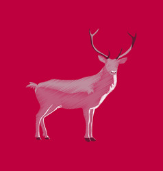 Flat shading style icon deer vector