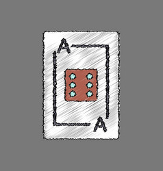 Flat shading style icon dice on playing card vector