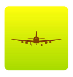 flying plane sign front view brown icon vector image