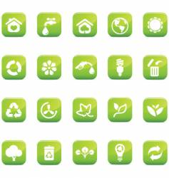 green icons environmental glossy vector image