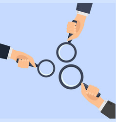hands holding a magnifying vector image vector image
