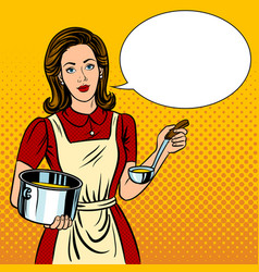 Housewife woman pop art style vector