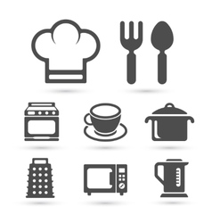 Kitchen cooking icons isolated on white vector image