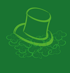 leprechaun hat and clover vector image vector image