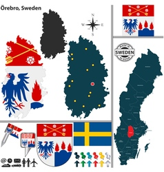 Map of Orebro vector image vector image