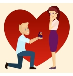 Marriage proposal on one knee vector