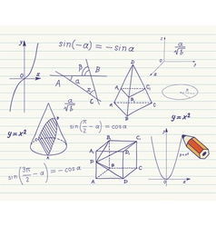 Mathematics sketches on school board vector image vector image