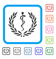 Medical honor laurel wreath framed icon vector