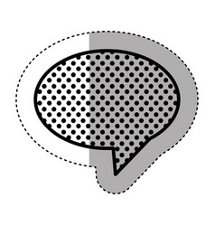 Monochrome sticker of oval speech with tail and vector