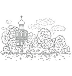 Old church on a river bank vector
