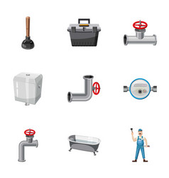 Plumber kit icons set cartoon style vector