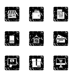 Products icons set grunge style vector