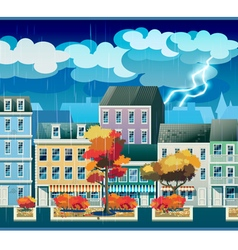 Rainy day in the old town vector image vector image