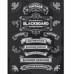 Retro banner and ribbon blackboard design set vector image vector image