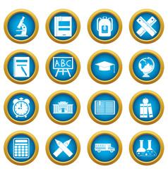 school icons blue circle set vector image