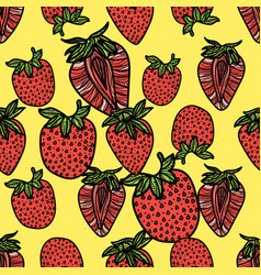 seamless pattern with pink strawberries vector image vector image