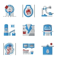 Simple flat color icons for mri vector