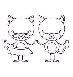 Sketch contour caricature with couple of cats vector
