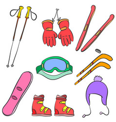 Sport equipment colorful doodle style vector