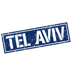 Tel aviv blue square stamp vector