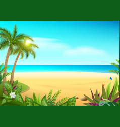 Tropical paradise island sandy beach palm trees vector