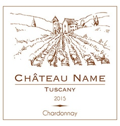 Vintage wine label with a hand drawn rural vector image vector image