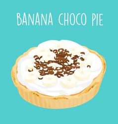 Yummy banana chocolate pie vector