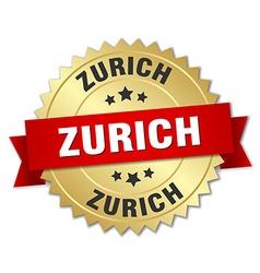 Zurich round golden badge with red ribbon vector