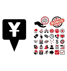 Yuan map pointer flat icon with bonus vector