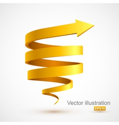 Yellow spiral arrow 3D vector image