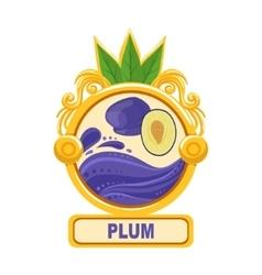 Plum bright color jam label sticker template in vector