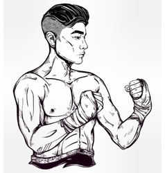 Gritty asian boxer or muay thai martial artist vector